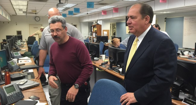 Gov. Earl Ray Tomblin got briefing at state EOC Wednesday evening.