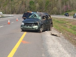 The SUV involved in Thursday crash sustained major damage.