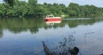 A Charleston Fire Department boat aids in Monday's search for a man who went underwater on the Kanawha River.