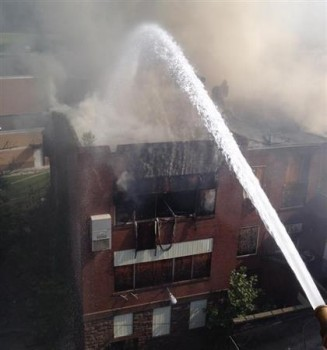 Fire authorities said it was too dangerous to battle the blaze from inside the old building.