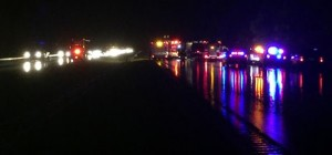 Accident scene Tuesday night in Barboursville closed I-64 for most of the night.