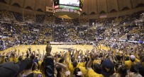 West Virginia fans throw up confetti during the No. 14 Mountaineers' 80-69 win over No. 15 Baylor on Saturday at the WVU Coliseum in Morgantown, W.Va.