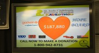 The final total for the Radiothon displayed Friday night.