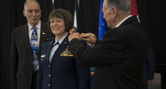 The WV Guard's first female Brigadier General Paige Hunter promoted in a ceremony Saturday at the 130th Airlift Wing in Charleston.