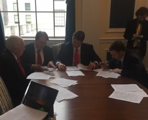Delegates Rowe, Lane and McCuskey work on the voter ID bill in conference committee Saturday