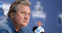 West Virginia Mountaineers head coach Bob Huggins speaks at a press conference during a practice day before the first round of the NCAA men's college basketball tournament at Barclays Center.