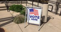 Outside the Kanawha County Voter Registration Office Wednesday afternoon.