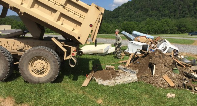 Part of the West Virginia National Guard's mission has been to help move flood debris.