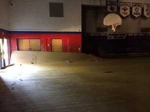 The Herbert Hoover basketball gym sustained major damage in the July 23 flood.