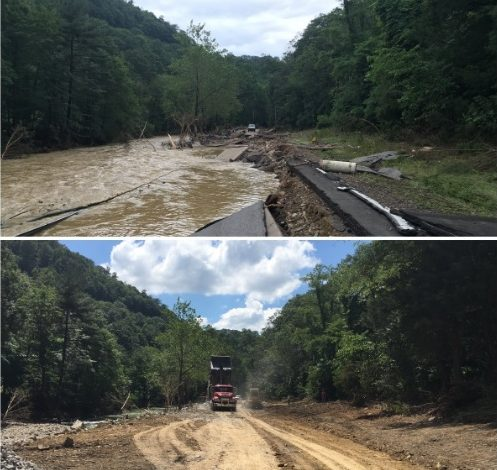 The state DOH posted these photos of Wednesday on how work has progressed on U.S. Route 60 at Caldwell in Greenbrier County.
