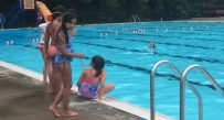 The first day of the YMCA-run Day Camp began Tuesday at the Coonskin Park pool.