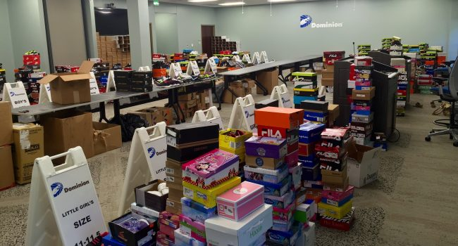 The goal was to collect 4,000 pairs of new shoes from Dominion employees and others for students in three West Virginia counties hit hard in the June flood. Distributions were scheduled to begin Thursday in Clay County and Kanawha County.