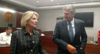 U.S. Senators Shelley Moore Capito and Joe Manchin speak with the media following Monday afternoon's field hearing.