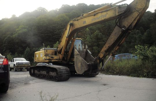 Heavy equipment is being used to remove a mine seal allowing entry to the Keystone Mine