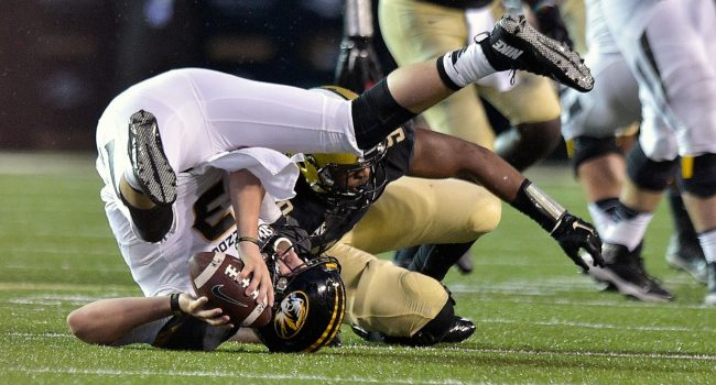 Missouri quarterback Drew Lock (3), here being sacked in a 10-3 loss at Vanderbilt last season, hopes to stay more upright in 2016.