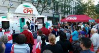 Dozens of people were out in Downtown Charleston to learn CPR during the first American Heart Association's National Hands-Only CPR Tour stop in West Virginia.