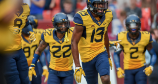 West Virginia cornerback Rasul Douglas celebrates a 54-yard interception return against BYU on Saturday.