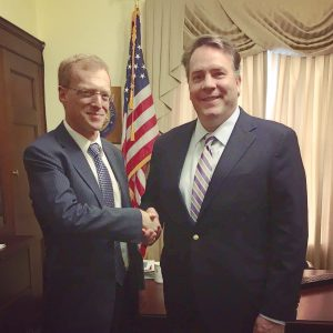 Second District Congressman Alex Mooney, right, met with Office of Management and Budget Administrator Howard Shelanski Thursday.