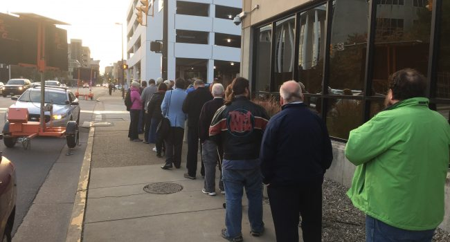 The line stretched around the building in downtown Charleston Wednesday as early voting began.