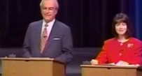 Cecil Underwood and Charlotte Pritt face off in the 1996 debate, saved for posterity by C-SPAN.