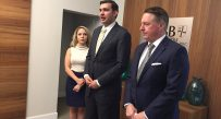 Senator Chris Walters (R-Putnam) (center) addressed the media Monday afternoon with his wife and attorney Rusty Webb (right).
