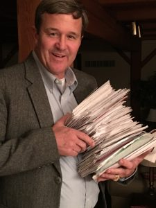 West Virginia elector Mac Warner displays the thousands of letters he has received, asking him to switch his vote to someone besides Donald Trump.