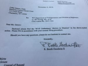 The motion to dismiss was filed with the Kanawha Circuit Clerk.