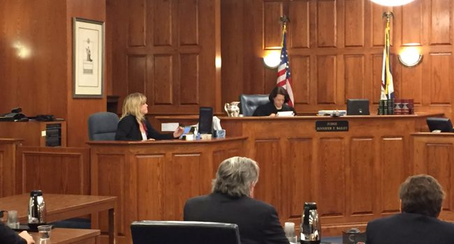 Judge Jennifer Bailey conducts a hearing on West Virginia's right-to-work law.