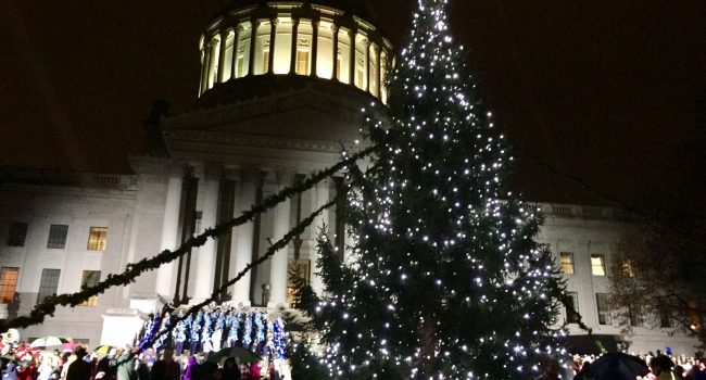 Governor and First Lady light the Christmas tree at the state Capitol Tuesday night.