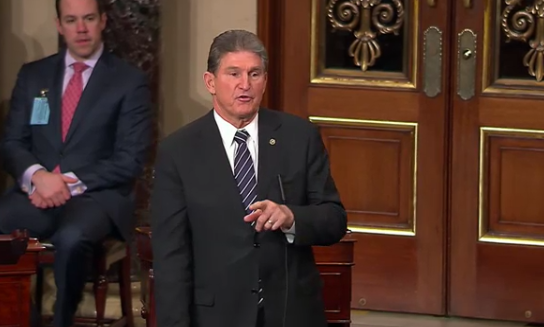 Sen. Joe Manchin speaks on the Senate floor in favor of a long-term fix for union miners healthcare and pension benefits.