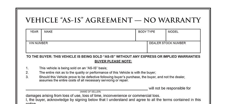Auto Bill Of Sale As Is No Warranty