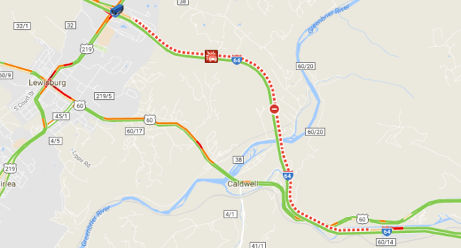 WVMetroNews - I-64 westbound closed in Greenbrier County