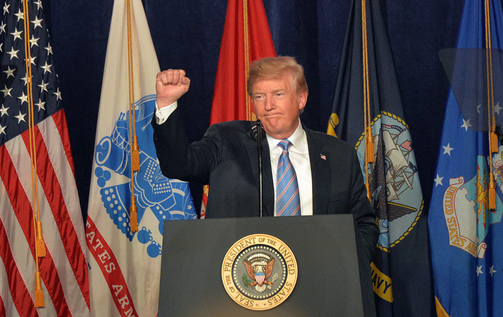 Trump says military keeps America safe, strong