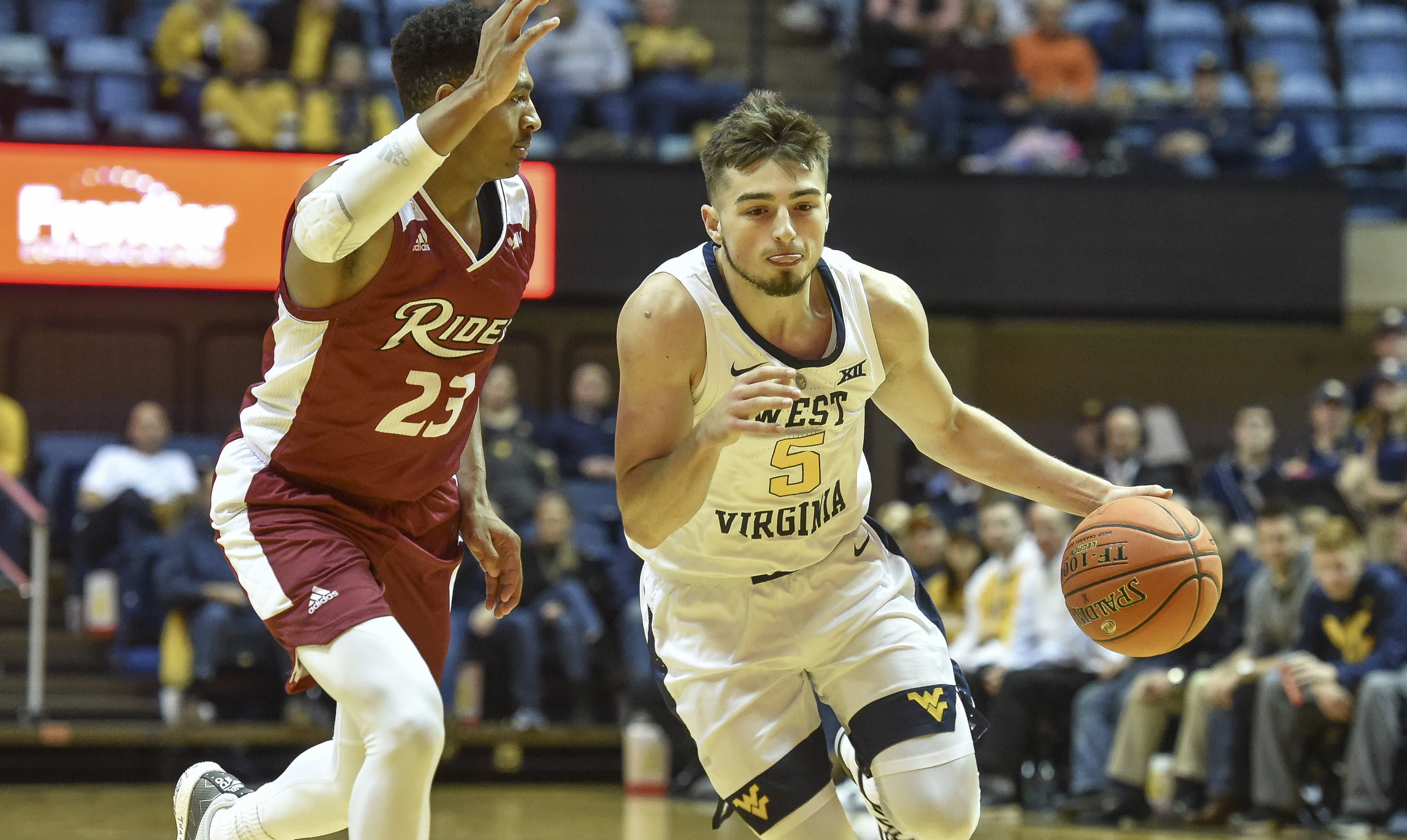04e1869a419 WV MetroNews West swishes, McCabe dishes as Mountaineers down Rider, 92-78  - WV MetroNews