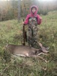 Addison Miley, age 8, of Petersburg, W.Va. killed her first deer hunting with her dad during the 2020 youth season in Grant County, W.Va.   She managed to kill the doe--and still made it to church on time.