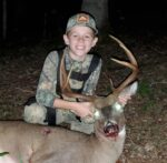 Tristan Dobbins of Glenville, W.Va. with a nice eight point buck he nicknamed Pitchfork watching him in the days leading up to the 2020 archery season. He killed the buck in Gilmer County.