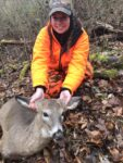 Mike Bohan of Charleston shares this picture of his daughter (but forgot to tell us her name) and says she was studying for a college final in the blind., stopped shot this doe, then went back to studying.