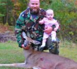 Dustin Vaughan of Pigeon, W.Va. says this might be just a doe, but it was a special deer to him because he got to share the excitement with his baby girl.