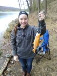 Kylee McGann, of Keyser, WV caught her first golden trout while fishing at Dam 14 in Mineral County, W.Va.