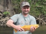 Tommy Barrett of Hedgesville, W.Va. caught this 18 inch golden rainbow trout in Berkeley County, W.Va. on Opequon Creek in May 2020 on a canoe trip with a friend and his two brothers. It was a great day on the water!