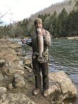 Jim Harrah of Fayetteville, W.Va. with a 22 inch rainbow trout caught from the Cheat River in Preston County, W.Va.