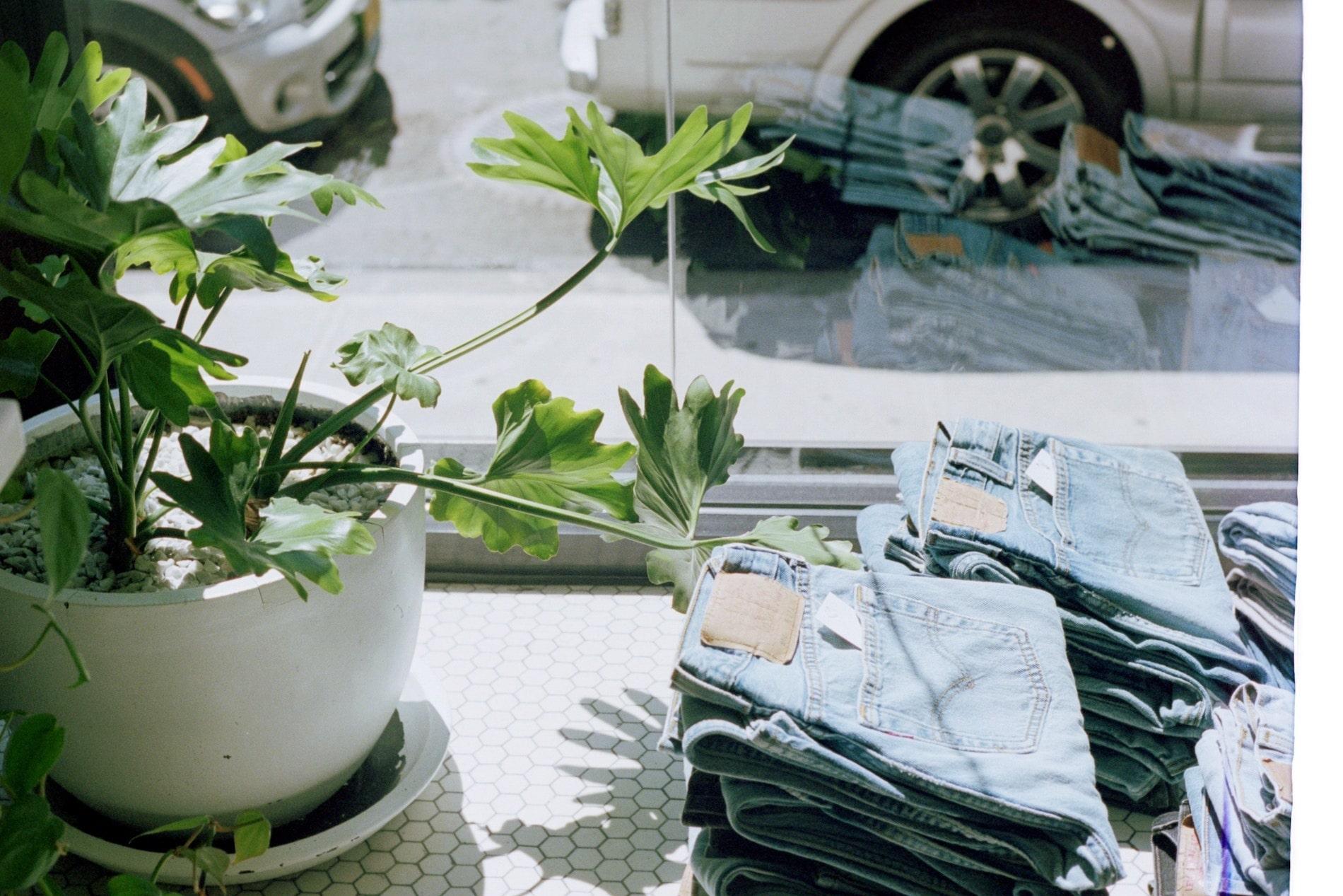 Pile of jeans folded in shop window