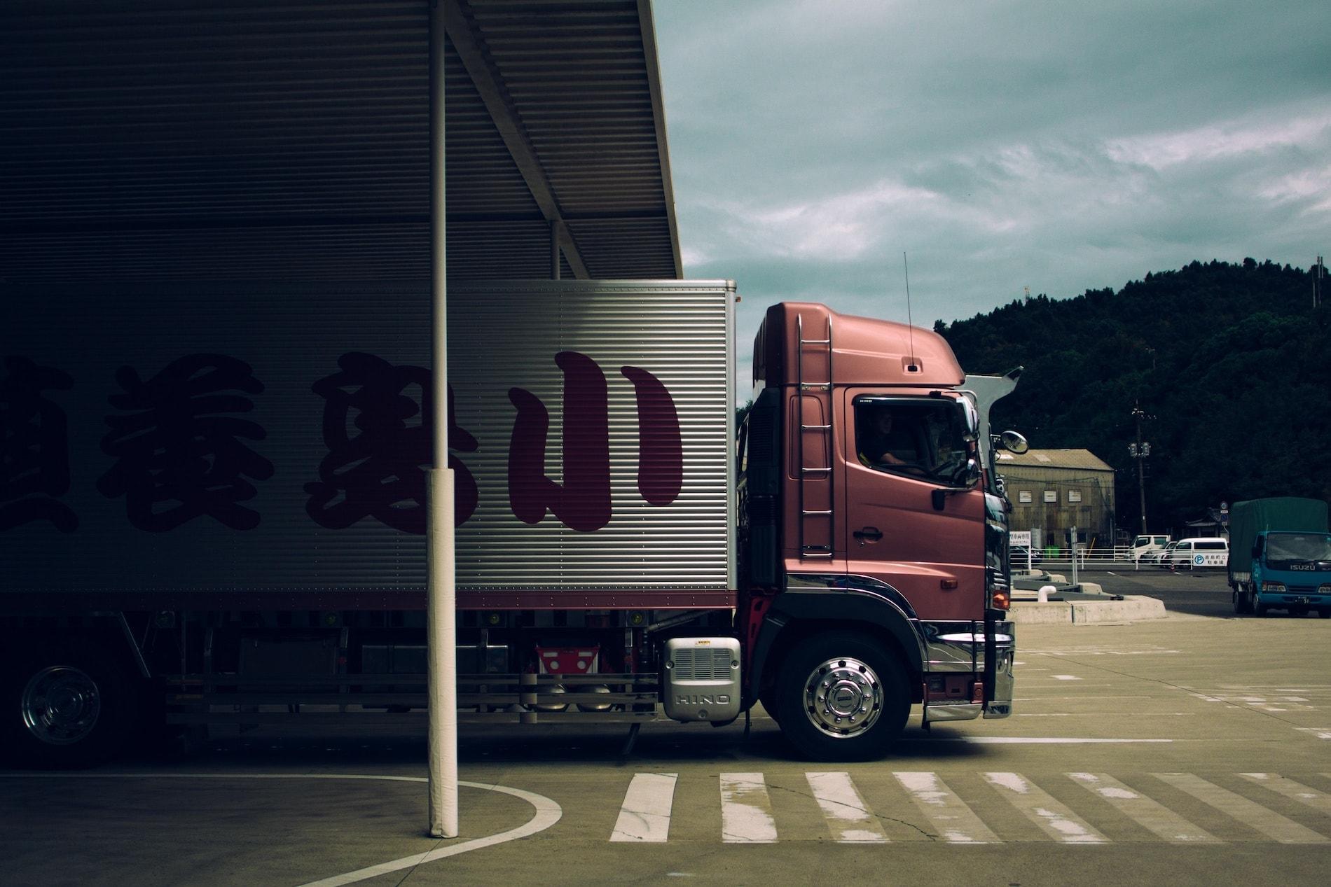 Truck leaving depot