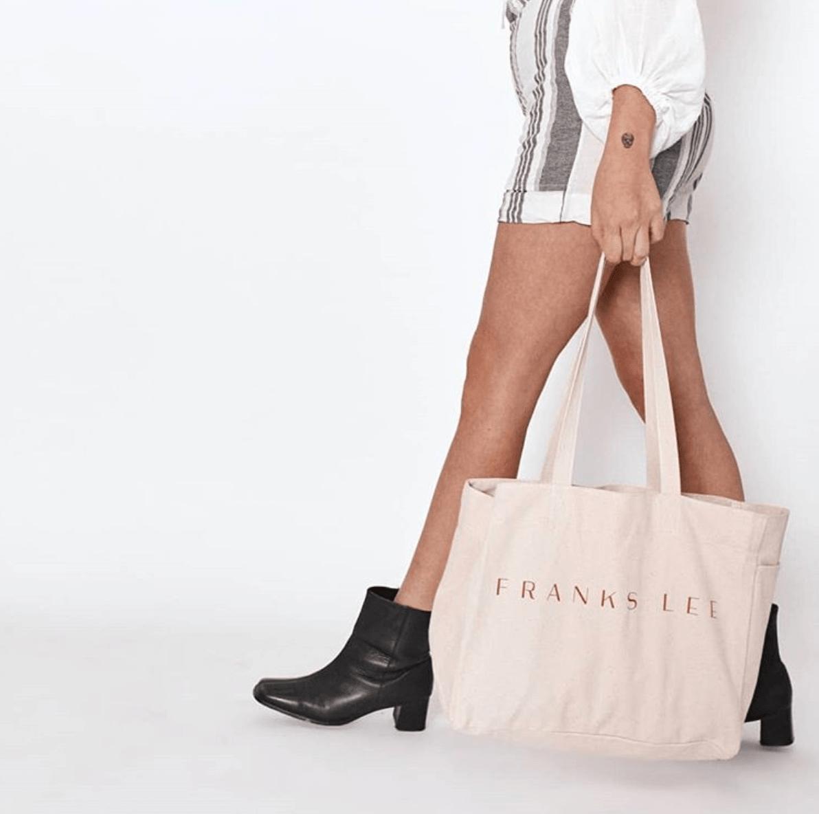Model carrying Franks Lee bag