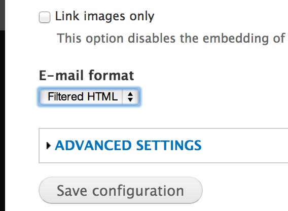change it from plain text to filter html this means that when emails are sent theyll be filtered by the filter html text format