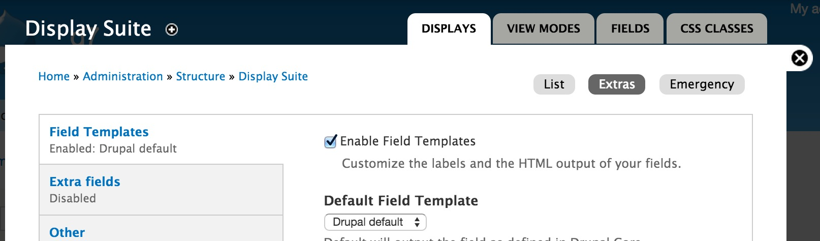 How to use display suite field templates in drupal 7 webwash you can also select which template will be used as default from this page just leave it as drupal default for now maxwellsz