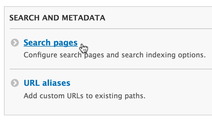 """Scroll down to the """"Search pages"""" section and from here you can manage the existing pages and create new ones."""