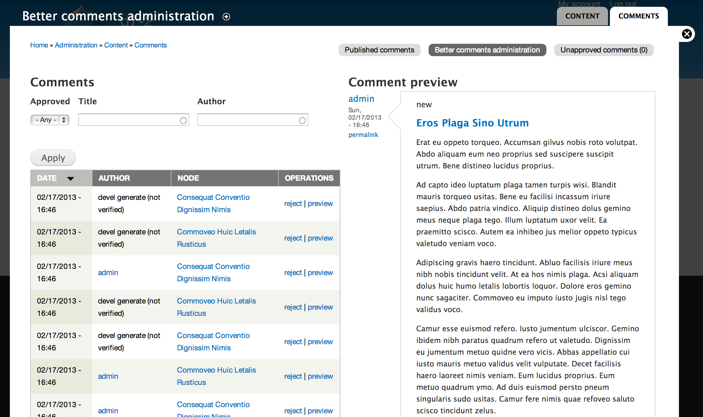 Manage Comments With Better Comments Administration Module In Drupal 7 Webwash