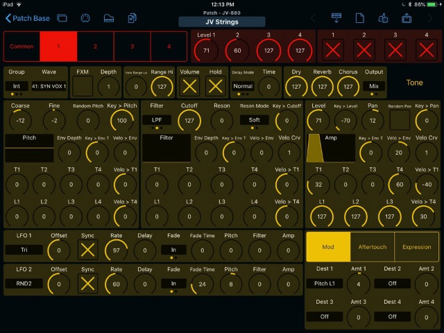 iPad Editing For Roland JV-880 & JV-80