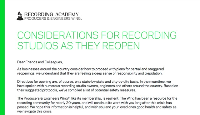 Considerations For Re-opening Studios